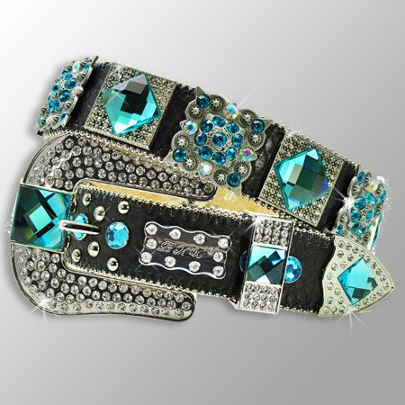Black Belt with Blue Crystals and Buckle  The Western Boutique offers a wide selection of beautiful Texas style  Cowgirl Bling Belts. Made of genuine leather and cowhide.    These western belts feature Rhinestones, Crystals, Crosses, Conchos, and Pistols.  http://thewesternboutique.com/rhinestone-cowgirl-bling-western-belts.html