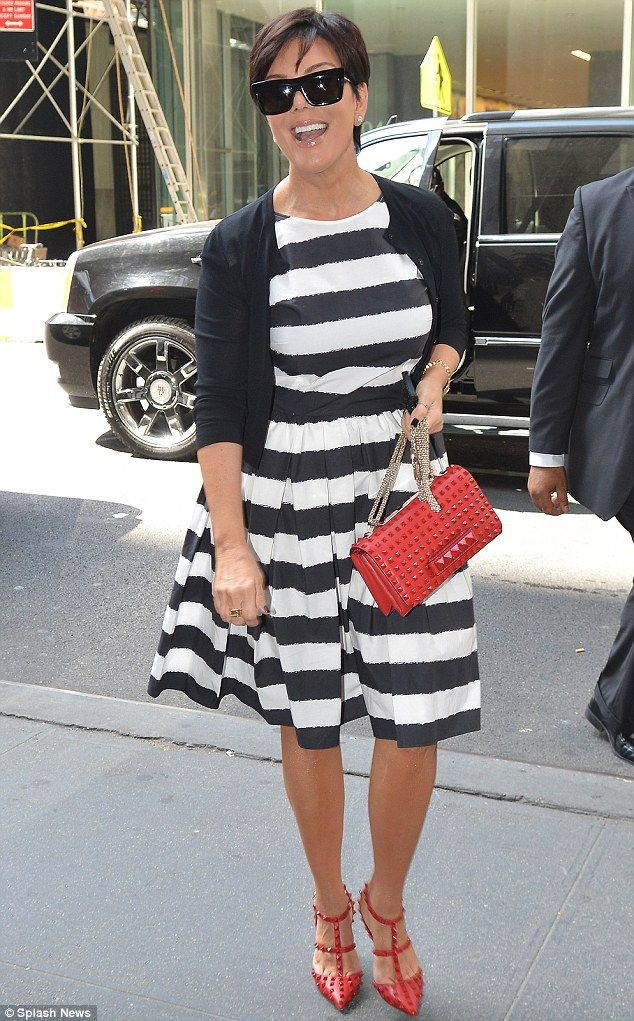 Beaming: Kris Jenner was seen leaving The Today Show studios in New York on Monday morning