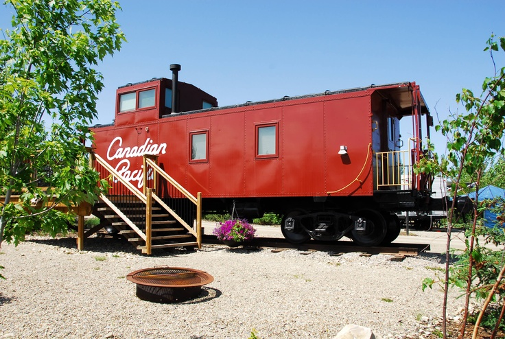 Aspen Crossing's Canadian Pacific Caboose Cabin. Outside.