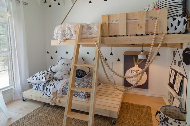 Adorable children's room with wooden beds, printed bedding and room to play and imagine | Urbanology Designs