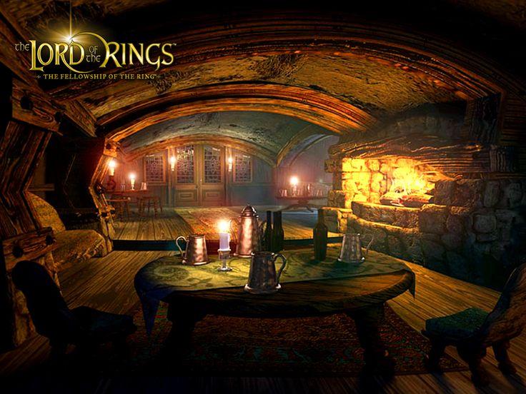 Hobbit House Inside Roof Lit In Amber Glow Lanterns