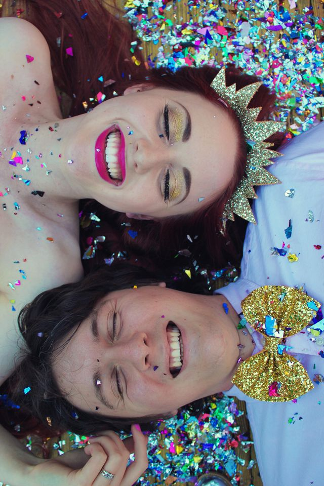 Celebrating our first wedding anniversary with a pink, gold and glittery photo shoot!