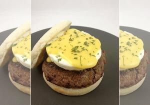If you like Eggs Benedict but not the Canadian bacon, feast your eyes on this! The Eggs Benedict Burger is the perfect alternative to traditional Eggs Benedict, swapping the bacon for a half pound burger patty.
