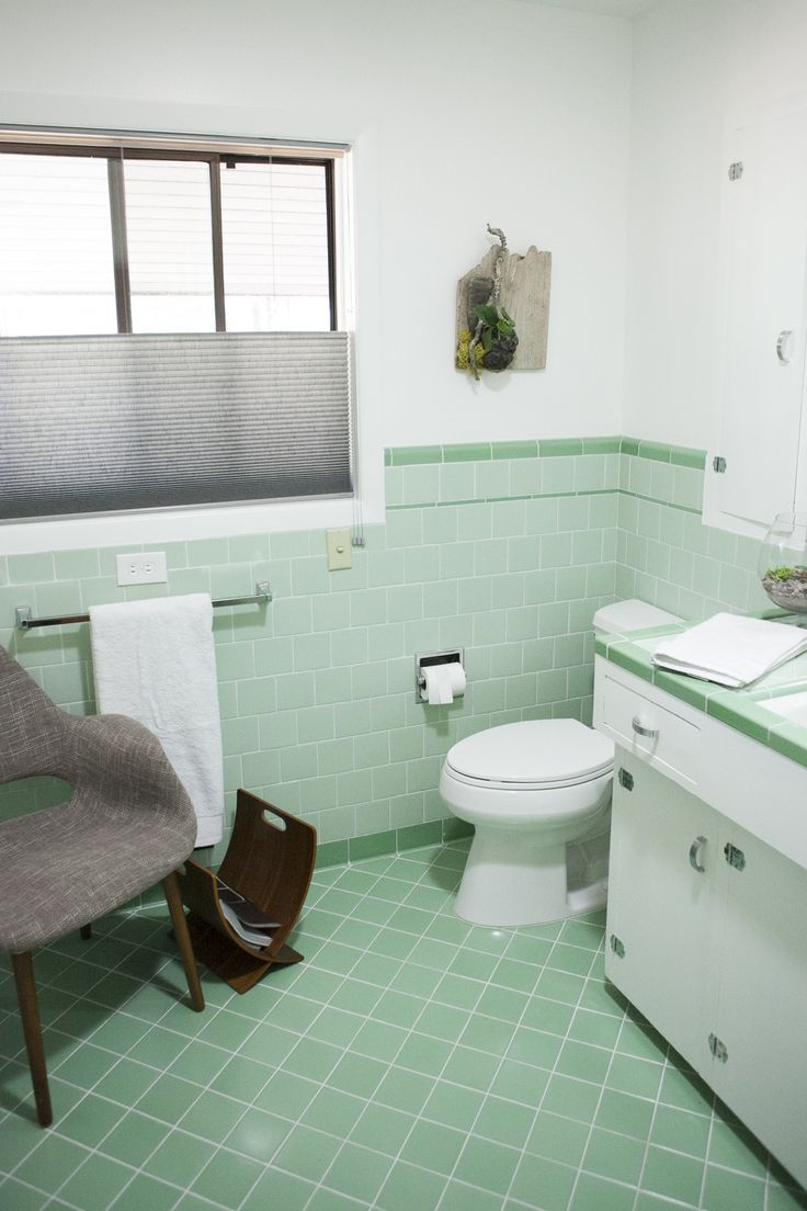 Lovely Green and Black Tile Bathroom