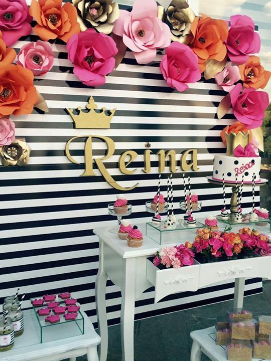 la Reina Kate Spade birthday themed party, for little queen Reina. Kate Spade cake, cupcakes, pops.