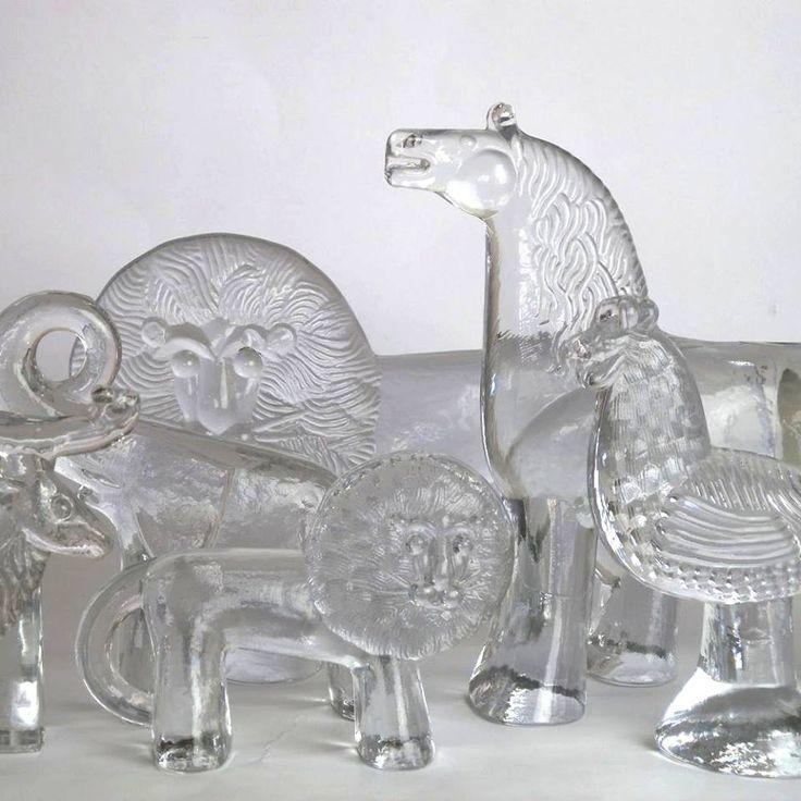 BODA ZOO: collection de figures animales trésorerie de verre clair conçus de Bertil Vallien pour Boda, 1970