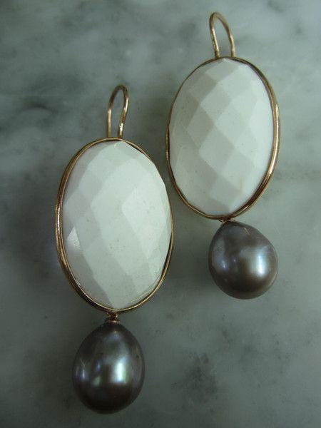Ohrhänger - Ohrringe Onyx Lila Ohrstecker Perle Biwa Ohrhänger - ein Designerstück von TOMKJustbe bei DaWanda