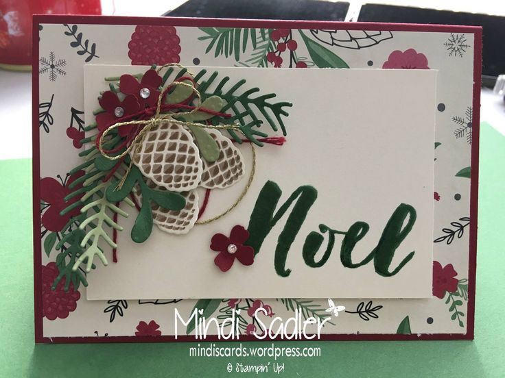 Christmas cards Stampin Up - Christmas Pines stamp set, Pretty pines thinlits dies and This Christmas DSP Stampin' Up!