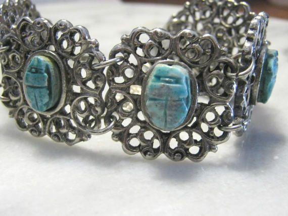 Vintage jewelry scarab link bracelet Egyptian scarab bracelet