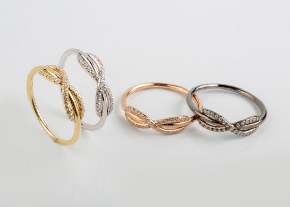 Diamond Infinity Ring Infinity Knot Ring Solid Gold Knot