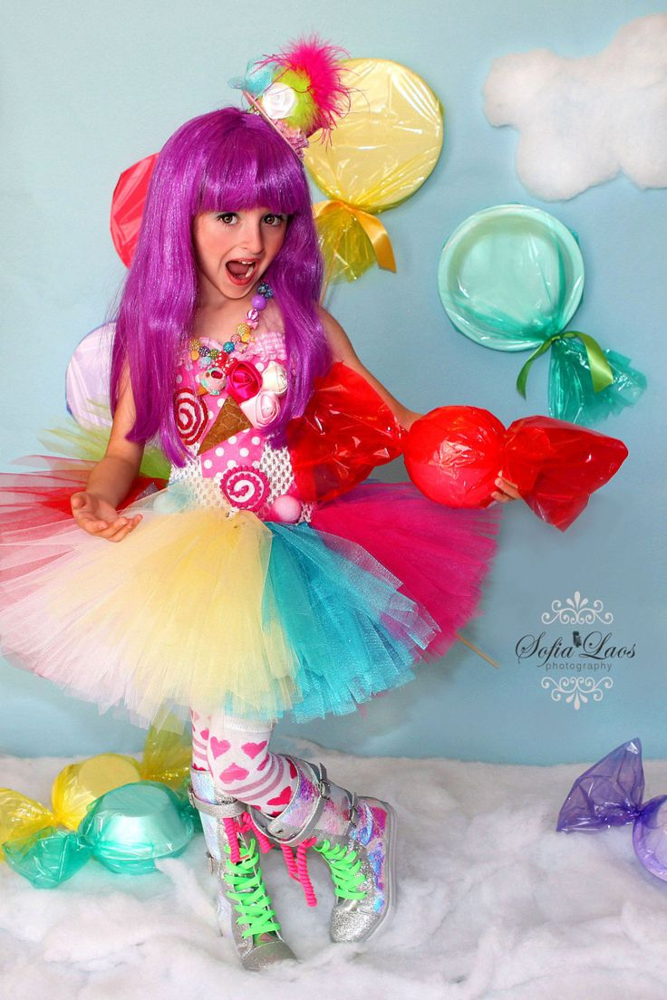 Katy Perry inspired Candy land tutu dress and costume. $85.00, via Etsy.