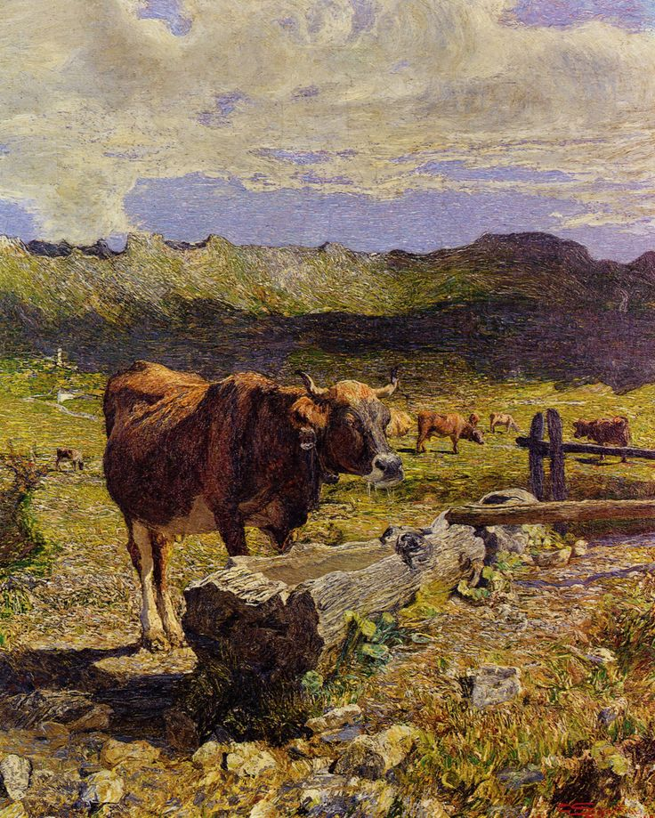 Brown Cow in the Waterhole by Giovanni Segantini