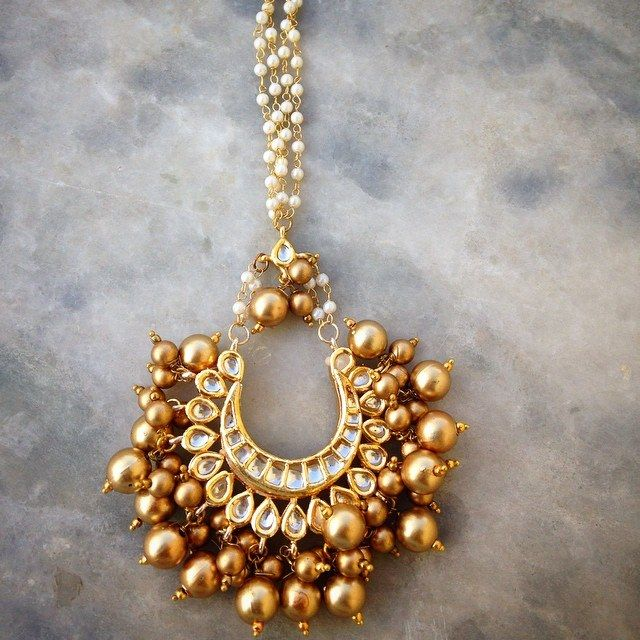 Golden Maang Tikka-Jewellery-Ruby Raang