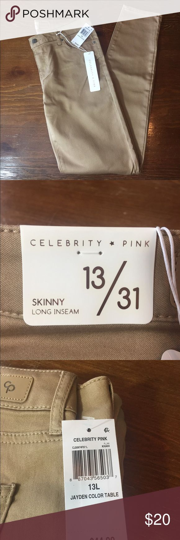 Celebrity Pink khaki Skinny Jeans Celebrity Pink khaki Skinny jeans. Measurements: *Waist - 33 in. *Inseam - 31 in. *Outseam - 42 in. *Leg opening - 6 in. *Front rise - 9.5 in. *Back Rise - 13 in. *Hips - 19 in.   NWT! Celebrity Pink Pants Skinny