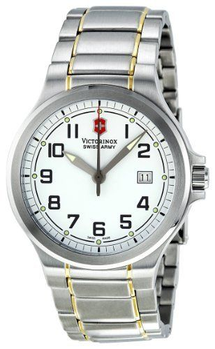 Victorinox Swiss Army Men's VICT241277.CB Class Analog Stainless Steel Watch Victorinox Swiss Army. $165.00. Durable mineral. White dial. Water-resistant to 100 M (330 feet). Quartz movement. Case diameter: 42 mm. Save 38% Off!