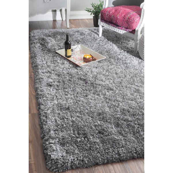 NuLOOM Handmade Soft And Plush Solid Grey Shag Rug (7'6 X