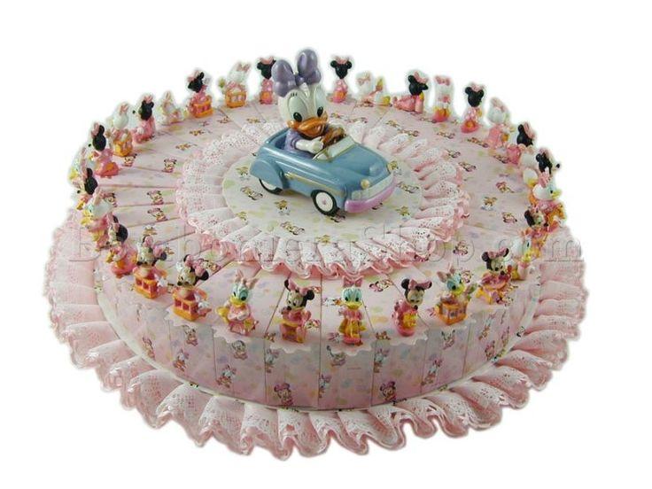 Torta bomboniera con  MINNIE e DAISY 5 confetti a scelta inclusi nel prezzo, disponibile dal 10/01/2016 #torta #bomboniere #minnie #daisy #disney #nascita