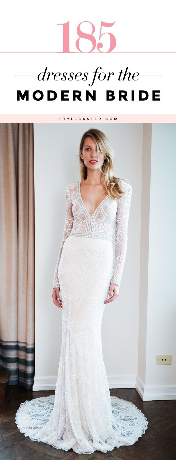 Wedding Dress Handbook: 185 Modern Bridal Looks - This amazing gallery of long-sleeve, backless, short, beaded, boxy, bodycon, and minimalist wedding ensembles (including pants, and skirts) is the ultimate inspiration for any modern bride.: http://stylecaster.com/modern-wedding-dresses/