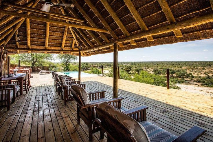 Places to stay while visiting South Africa.  Angela's Safari Camp  - Angela's Safari Camp's thatched lookout deck is fully equipped with a drinks fridge, braai area, rim flow pool and loungers. The covered area contains comfortable Morris chairs, while the wooden dining table and chairs (covered by a large umbrella) offer space for dining pleasure....#wildlife #southafrica #photosafari #tourism #extremefrontiers #bush #adventure #holiday #vacation #safari #tourist #travel