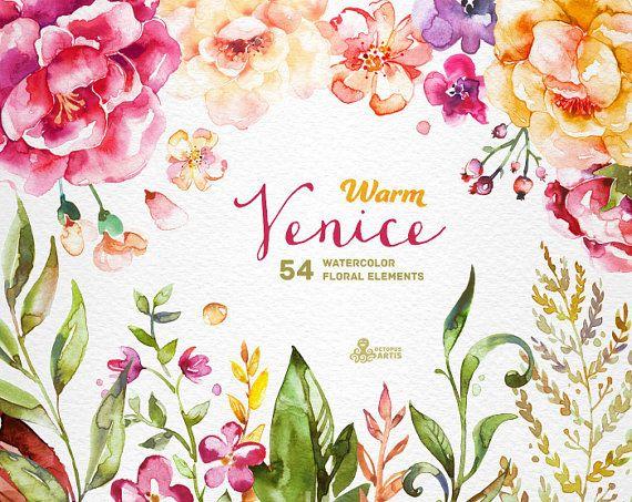温かみのあるヴェネツィア。54 の水彩花の要素、貧しい、バラ、結婚式招待状、黄色、グリーティング カード、diy のクリップ アート、花、アート