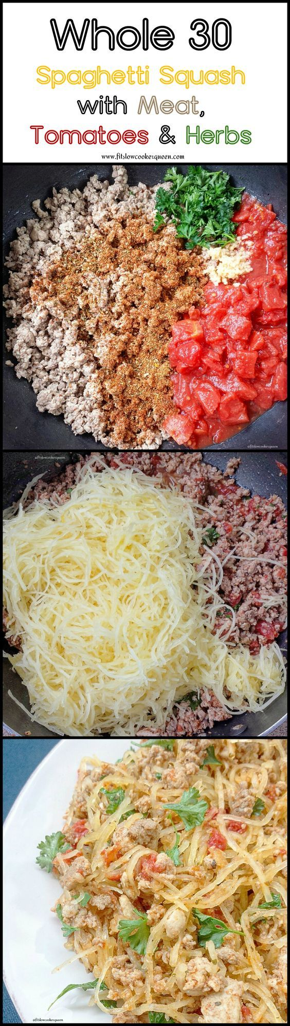 This healthy and simple whole 30 compliant one-pot meal consists of spaghetti squash, ground meat, diced tomatoes and fresh herbs. healthy slow cooker / crockpot recipe