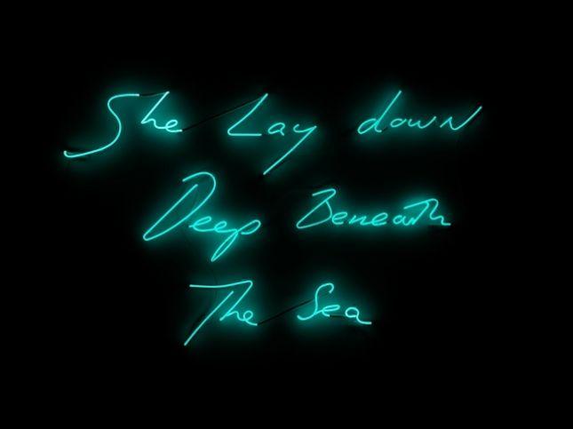 she lay down deep beneath the sea, 2012 • neon [aquamarine] • tracey emin   (photo: ben westoby)