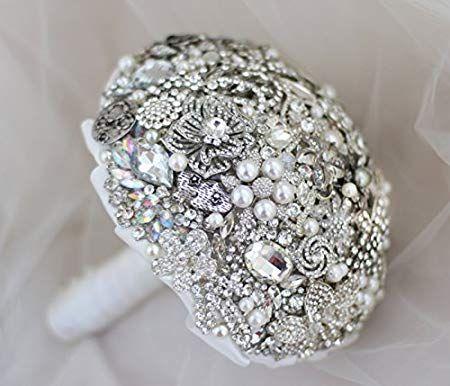 79da6c7f26b1 iffo Plata Perla Diamante Metal Floral Boda De La Novia Ramo ...