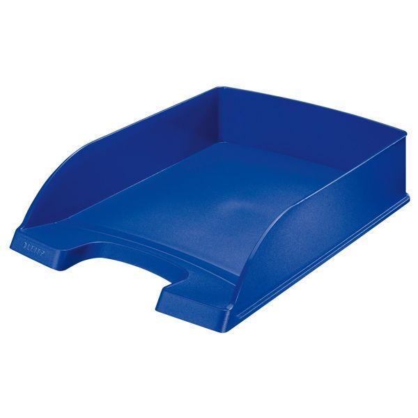 Leitz 5227 brievenbak blauw metallic     De blauw metallic gekleurde Leitz brievenbakken zijn gemaakt van stevig polystyreen. Deze brievenbakken kunnen zowel los als stapelbaar gebruikt worden en zijn ideaal om A4 documenten in op te bergen.