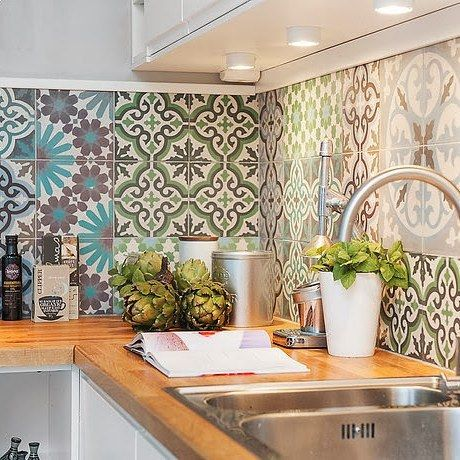 Colored patchwork of cement tiles for kitchen #interior #home #homedecor…