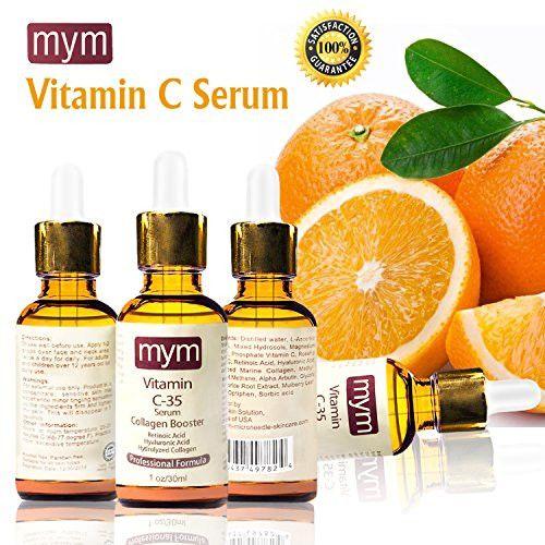 New 3 in 1 Best Organic Vitamin C 35% Serum + Hyaluronic Acid + Hydrolyze Collagen + Retinoic Acid. Collagen Booster Helps Repair Sun Damage, Fade Age Spots, Dark Circles, Wrinkles & Fine Lines