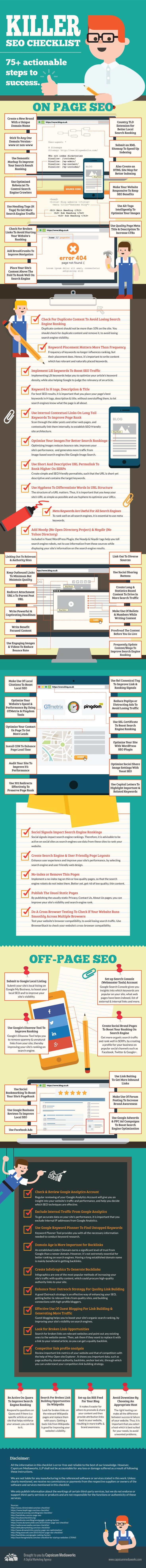 Looking for the ultimate SEO guide? This infographic offers 75+ tactics you can begin implementing today! Make it simple on yourself - save this easy guide!