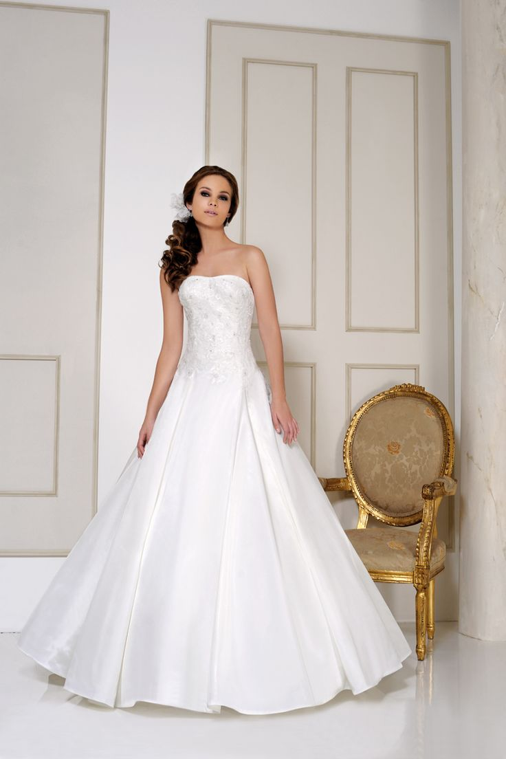 Ball gown style strapless dress, paper taffeta with lace appliqué 2515 from Naomi Hilton Bridal WS11 0DA