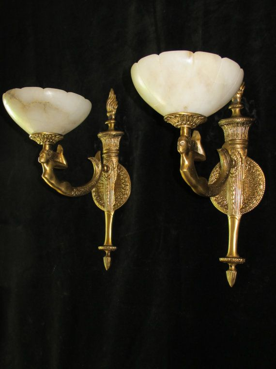 wall lights solid bronze & real alabaster by europeanlighting, $295.00