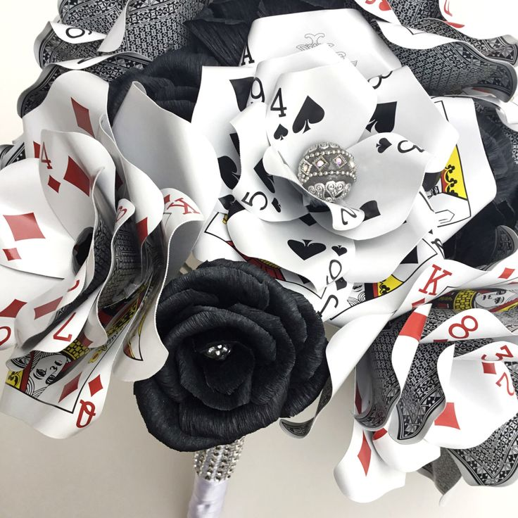 Large Poker Playing Card Flower Bouquet, Bridal Bouquet, Vegas Wedding, Glass Beads, Rhinestone Bling, Black Paper Roses, Paper Flowers by ThePaintedPetaler on Etsy https://www.etsy.com/listing/270934155/large-poker-playing-card-flower-bouquet