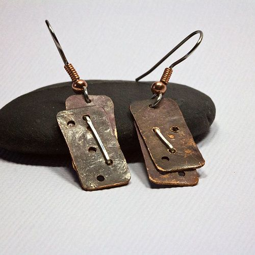 Antiqued Copper and Sterling Silver Earrings: 'All Things Bound Together' - a made-to-order design for the studio | AU$30