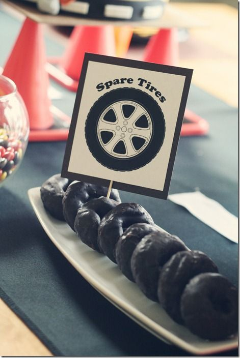Spare tire donuts for a car party