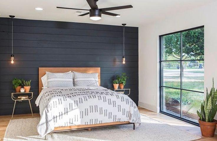 Bedroom I Love The Black Shiplap Wall Remodel Bedroom Fixer Upper Bedrooms Black Accent Walls