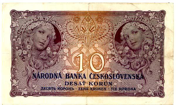 Czechloslovakian Banknote Design by Alphones Mucha