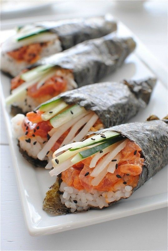 Spcy Tuna Hand Rolls! Easier than sushi and you can substitute the tuna with shrimp if you can't get your hands on sashimi grade fish
