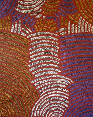 Gloria Petyarre  Mountain Devil Lizard Dreaming  1995  Synthetic polymer paint on Belgian linen  150 x 121 cm  $6,000 AUD