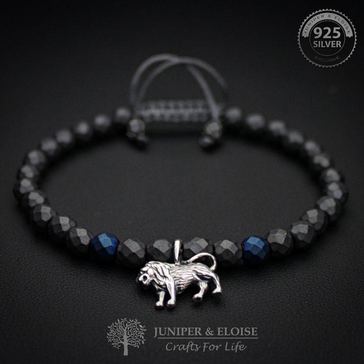 Lion Bracelet, Mens Bracelet, Womens Bracelet, Matte Bracelet, Gift Bracelet,925 Silver Lion charm Bracelet, Leo Bracelet, Pulsera, Armband by JuniperandEloise on Etsy