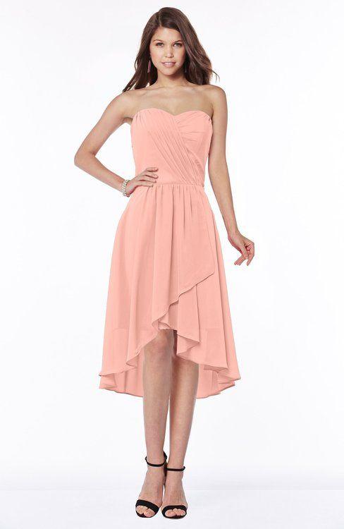 Peach Mature A-line Strapless Chiffon Knee Length Ruching Bridesmaid Dresses