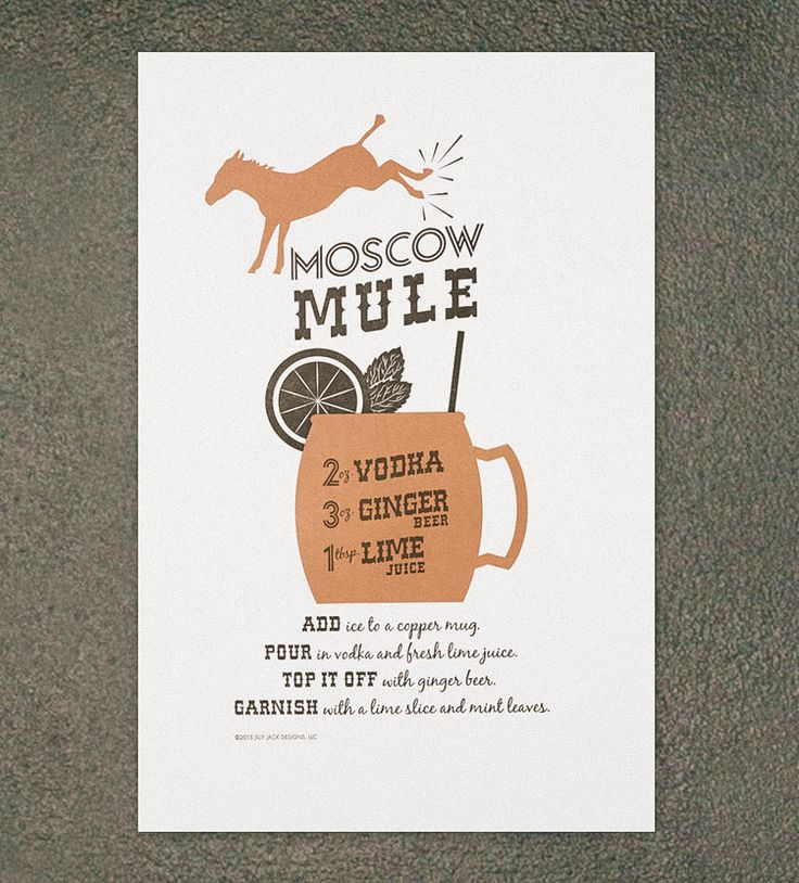 Moscow Mule Recipe Letterpress Art Print by Jilly Jack Designs on Scoutmob