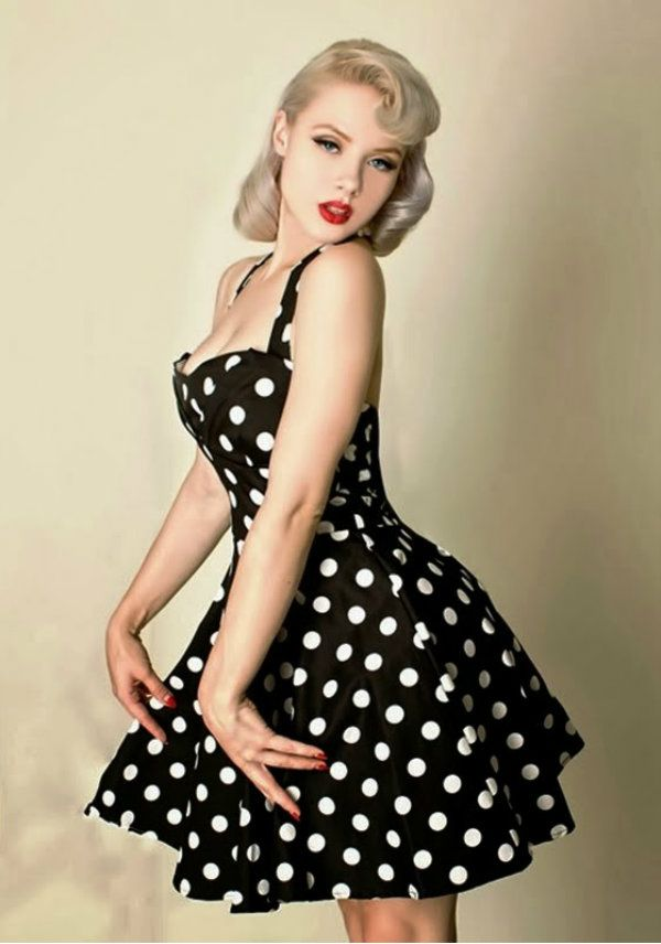 Retro black polka dot dress with sweetheart neckline