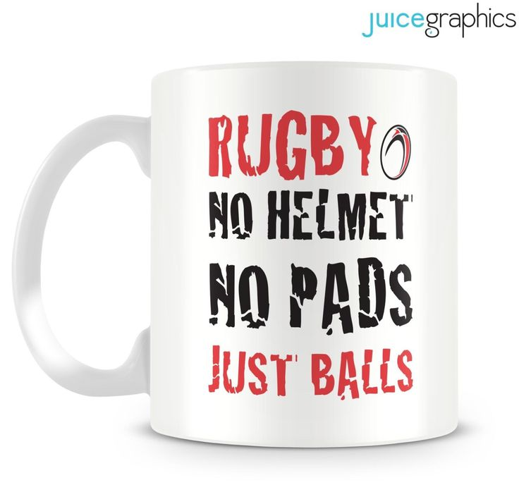 Rugby. No helmet, no pads, just balls. Funny mug design. Rugby and Sports fanatics. by JuiceGraphics on Etsy https://www.etsy.com/listing/237817223/rugby-no-helmet-no-pads-just-balls-funny