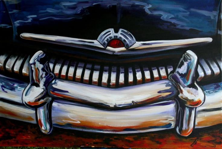 Old Mercury front Grill by Kerian Babbitt Massey Antique Car painting