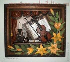 Мастер-класс по изделиям из кожи: Скрипка и лилии. Часть 1