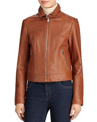 Lauren Ralph Lauren Zip-Front Leather Jacket  | Bloomingdale's