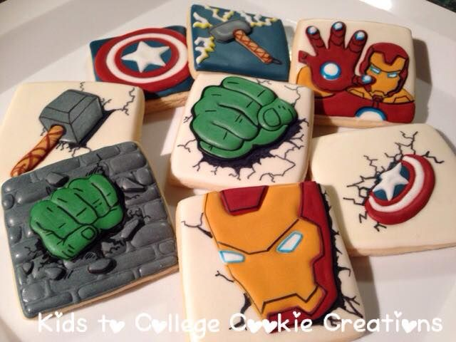 Avengers Superheroes party favors, Iron Man, Hulk, Captain America, Thor sugar cookies by www.facebook.com/kidstocollegecookiecreations