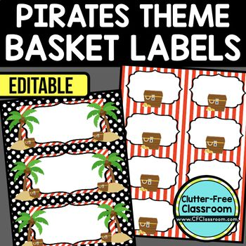 PIRATES THEME Editable Labels by CLUTTER FREE CLASSROOM - These organizational labels have many uses in the classroom or home school. They can be classroom library labels, name tags for cubbies or desks, supply labels, used for organizing centers, and much more. Grab these cute printables today for your preschool, Kindergarten, 1st, 2nd, 3rd, 4th, 5th, or 6th grade classroom or home school.  And make sure to check out the links for some FREE downloads to help make your space look great!